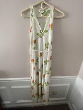 Christian Dior Maxi Dress 1970s Vintage Orange Floral Roses Medium Womens