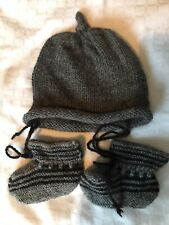 BNWT Alpaca Wool Hand Knit Baby Bonnet Hat & Booties 0-6 Months Baby Archie