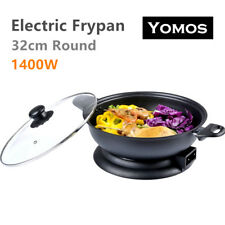 32cm Round Electric Wok Non-Stick Adjustable Temperature Control Frypan 1400W