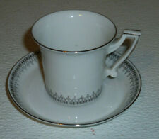 Rheinpfalz Hartporzellan Demi Tasse Cup and Saucer Antique Germany Silvertone