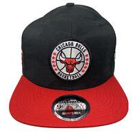 New Era NBA 9Fifty CHICAGO BULLS Black Front Patch 950 Snapback Hat Cap