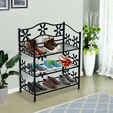 3-Tier Metal Shoe Rack Plants Stand Holder Home Storage Organiser Black