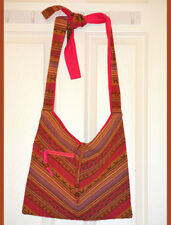 Hand Made Hand loom Striped Cotton Shoulder Bag with Adjustable Knot Tie Strap