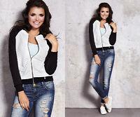 Damenjacke Gesteppter Blazer mit Reißverschluss viele Größen S bis L NEU 0226