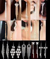 15 Designs Silver Gold Tone Long Tassle Crystal Diamante Drop Hook Earrings -199
