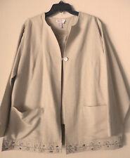NWT $149 Coldwater Creek Womens 2 pieces Sz 1X Jakets w/Tank Silk Rayon Sand