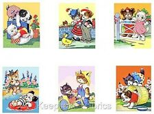 Vintage Kittens & Puppies At Play Nursery Collection Crazy Quilt Blocks (V3