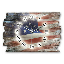 USA Flagge Landhaus Shabby Funk Wanduhr leise Funkuhr aus Holz * Kreative Feder