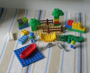 LEGO DUPLO CROCODILE BASE PLATES CANOE FIGURES FISH & BRICKS