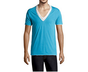 NEUF T-shirt ELEVEN PARIS L bleu turquoise blanc double superposition tshirt