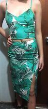 KOOKAI Tropical Palms Skirt & Crop Top Set SZ 34 FREE POST (e63)