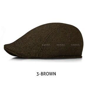 Wool Herringbone Newsboy Gatsby Cap Ivy Hat Golf Mens Flat Cabbie Stripe