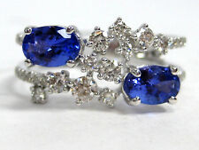 Tanzanite Ring 14K White Gold Pave Split Shank Antique Heirloom AAA 1.42ct $2,99