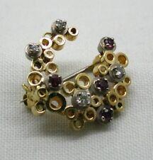 Vintage  Beautiful Two Colour 18 Carat Gold Diamond & Ruby  Horseshoe Brooch