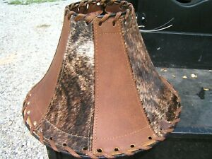 Cowhide and Leather Lamp Shade, Rustic lamp shade 0741