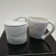 Michael Aram White Porcelain Forest Leaf Collection Sugar and Creamer Set