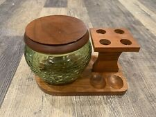 Vintage Fairfax Wooden 4 Pipe Stand Holder with Green Glass Tobacco Jar Humidor