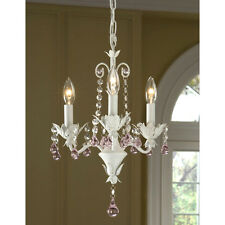 PETITE CRYSTAL Leaf GIRLS room Antique SHABY White finish Chandelier-Plugin Optn