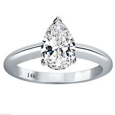Engagement Ring Set In 14k White Gold 2.00 Ctw Pear Shape Cut Solitaire Wedding