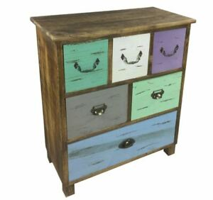 Solid Distressed Wood Storage Chest of Drawers Unit Shabby Chic Multi Color Unit