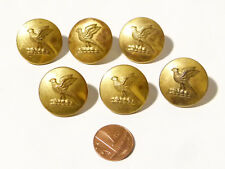 More details for 6 antique pheasant bird with wings up gilt 2 piece livery buttons #l41 *