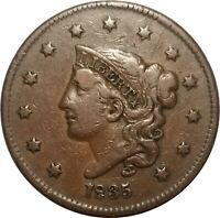 1835 Coronet Head Large Cent, N-8, R.2, Nice Glossy VF Example