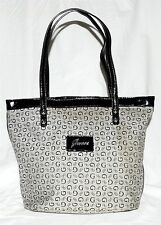 Guess Gray w/ Black Signature Logo Fabric & Black Faux Patent Leather Tote Bag