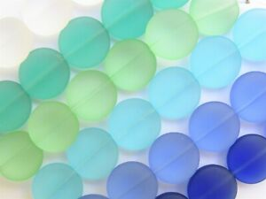 Bead Strands Cultured Sea Glass BEADS 15mm Coin Flat Round Assorted 5 Strand lot