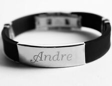 ANDRE - Mens Silicone & Silver Name Plate Engraved Bracelet - Birthday Gifts