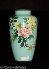 Japanese Cloisonne Vase Silver Wire Artist SIGNED Antique Vintage