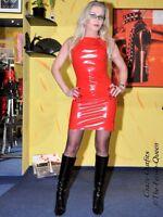 Lackkleid Kleid Rot Mini Ärmellos Lack Vinyl Maßanfertigung