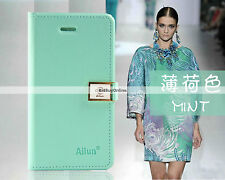 Ailun Luxury Side Flip Wallet Case for iPhone 4G / 4S with Wrist Strap - Mint