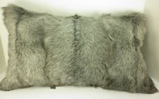 Real  Gray Goat Fur  Pillow New made in usa Authentic Fur cushion grey