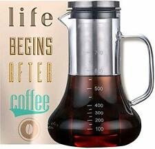 Cold Brew Iced Coffee Maker Glass Carafe with Tea Infuser Airtight Lid 700ML