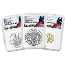 2019 PROOF American Legion 100th Ann. 3pc. defina NGC PF70UC FDI Bandera Etiqueta