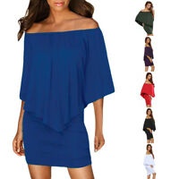 Sexy On Off One Shoulder Multiple Dressing Layered Mini Poncho Club Party Dress