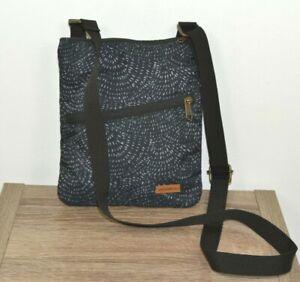 NWOT Eddie Bauer Connect Tech 3 zip travel Crossbody Bag, blue gray print