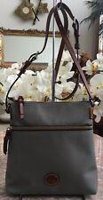 New Dooney & Bourke Gray Nylon Brown Leather Cross-body Bag ,MSRP $194