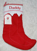 Pottery Barn Kids Christmas Stocking Quilted Daddy Red White Gingham PBK NWT NEW