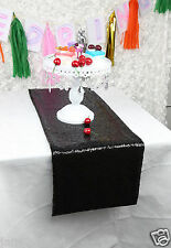 """14 PCS 12""""*108"""" And 1 PCS 90""""*132"""" Black Sequin Table cloth Cover For Wedding"""