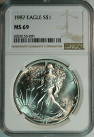 1987 NGC Silver American Eagle Dollar MS69 / Fresh Bright White / No Spots!!