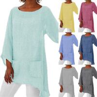 Womens Long Sleeve Loose Blouse Shirt Ladies Summer Casual Tunic Tops Plus Size