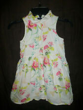 Gap Kids Girls White Floral Sleeveless Button Down Dress XS 4-5