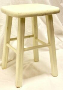 """18"""" Sturdy Wooden Stool - Seat  w Off White Paint / Cabin - Farmhouse Style"""