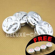 "Set of 4 Shinny Chrome Silver Car Alloy Rim Wheel Center Hub Cap logo 63MM 2.5"""