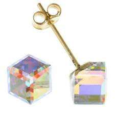 9CT YELLOW GOLD 4MM SQUARE CUBE AUSTRIAN CRYSTAL CZ STUD EARRINGS PIERCED BOXED