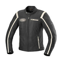 iXS Shawn Leather Vintage Cafe Racer Motorcycle Jacket W/ Armor Black/Ivory Mens