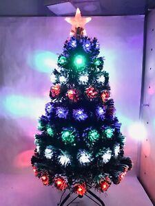 "3"" Pre-Lit Artifiical Christmas Tree Fiber Optic w/Multicolor LED Lights & Stand"