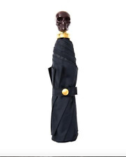 New Authentic Alexander McQueen Blue/Bordeaux Skull Folding Umbrella $660
