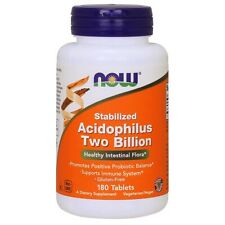 NOW Stabilized Acidophilus Two Billion - 180 Tablets FRESH, FREE SHIPPING
